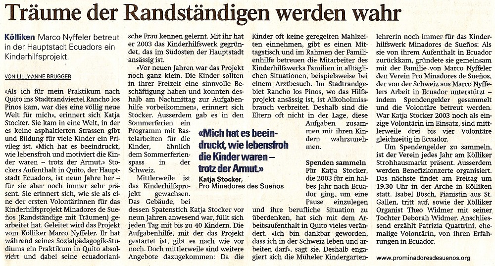 Zeitungsbericht zum Benefizkonzert in der Arche Kölliken | Pro ...